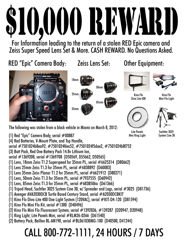 RED Epic camera and Zeiss lenses missing March 2012, Miami, FL